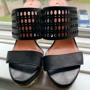 Via Spiga Black Leather Wedge Heels